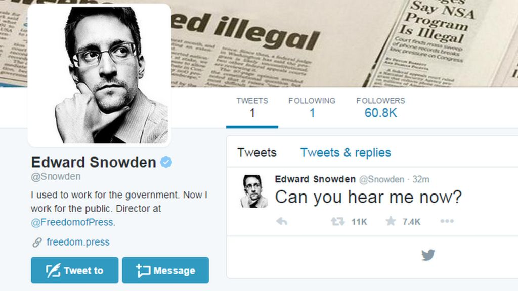Edward Snowden joins Twitter and follows NSA - BBC News