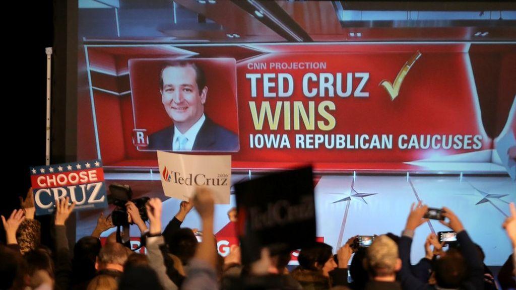 US election: Trump dealt blow by Cruz in Iowa vote - BBC News
