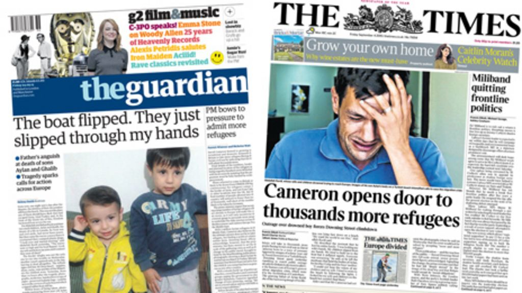 Newspaper Headlines Drowning Tragedy Refugee Pressure