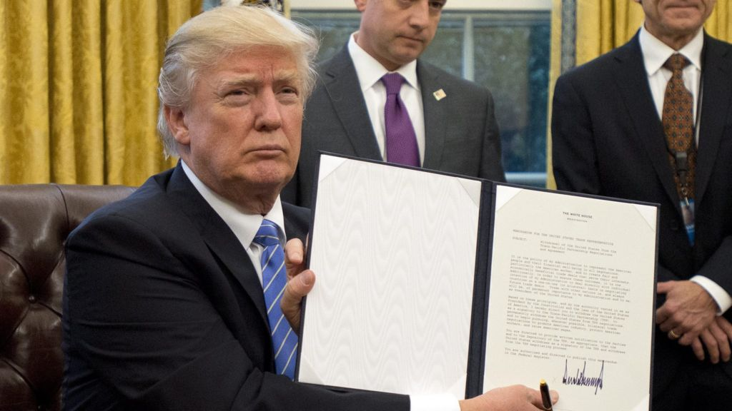 Trump pulls out of TPP trade deal