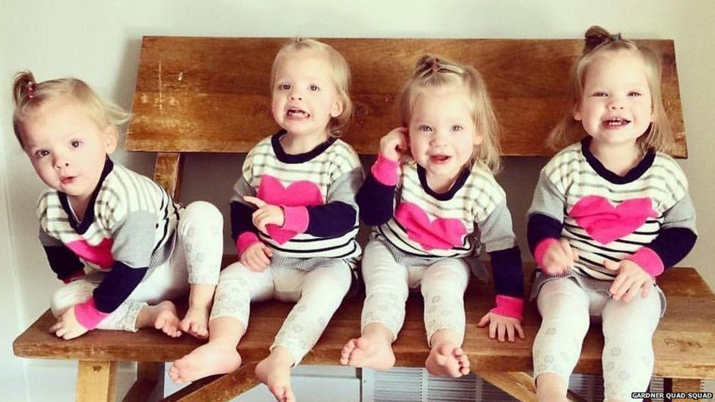 Newborn Identical Twins Meet the mum with quad...