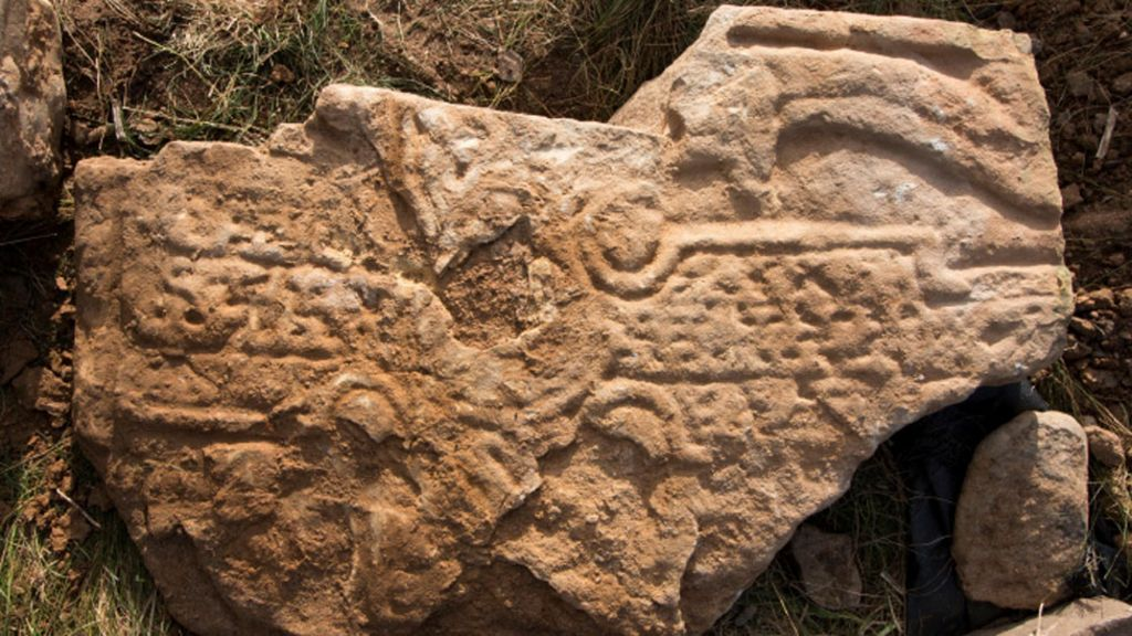 Rare pictish stone with dragon carving found on orkney