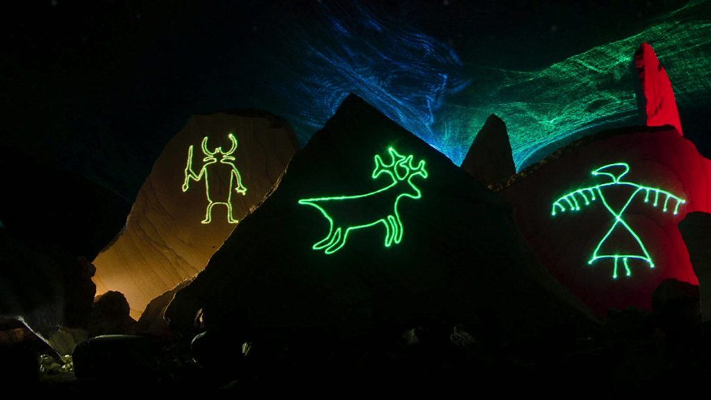 Turning rock carvings into laser projections