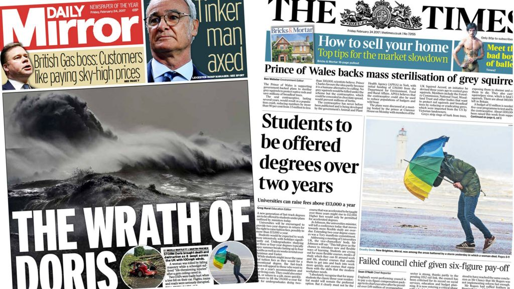 Newspaper Review The Wrath Of Storm Doris Bbc News