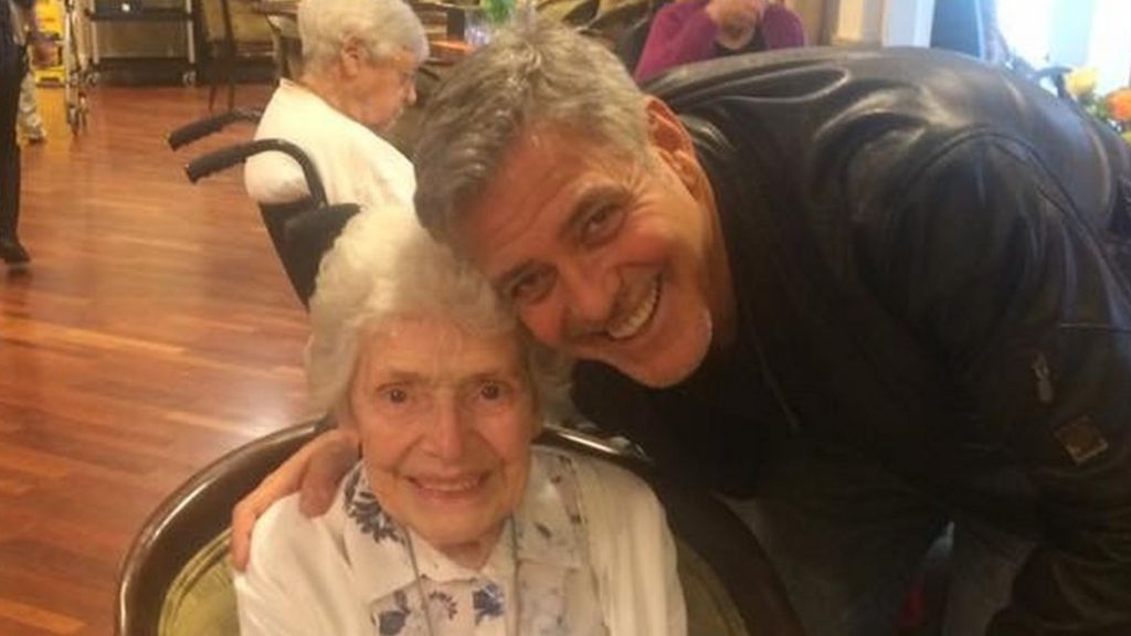 George Clooney surprises 87-year-old fan with birthday flowers