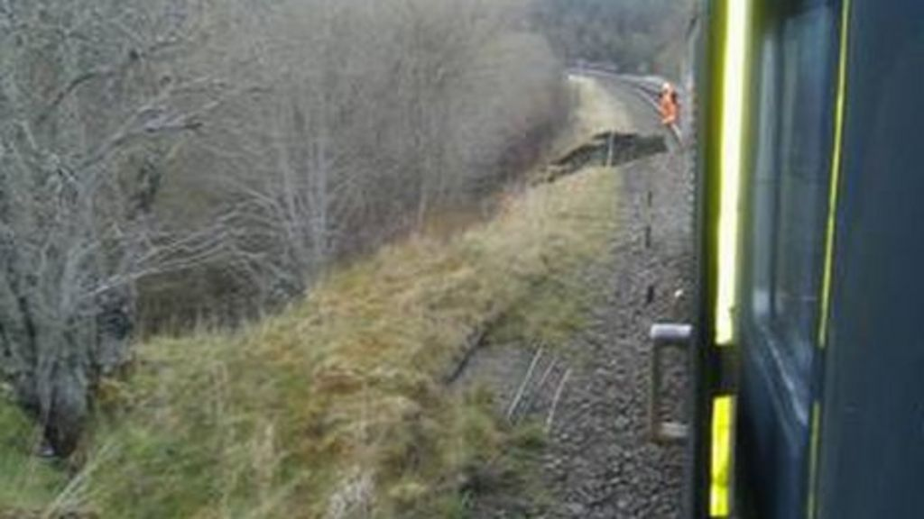View from train towards landslip