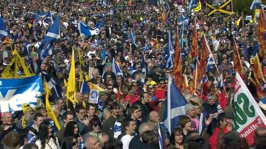 scottish independence  marchers rally in edinburgh
