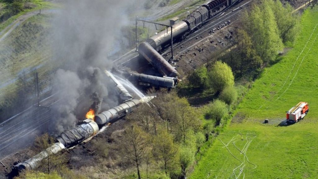 Aerial picture of an exploded freight train on a track near Schellebelle, 20 kms east of Gent, 4 May 2013
