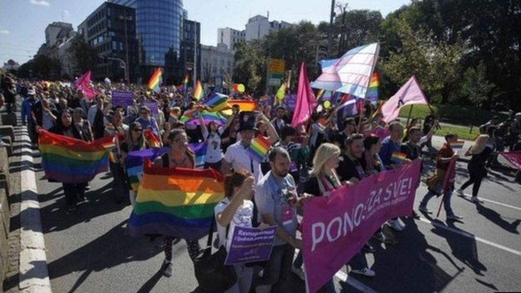 Serbia Gay Pride march returns after four years - BBC News