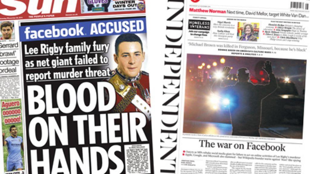 Bbc News Facebook: Newspaper Headlines: 'The War On Facebook'