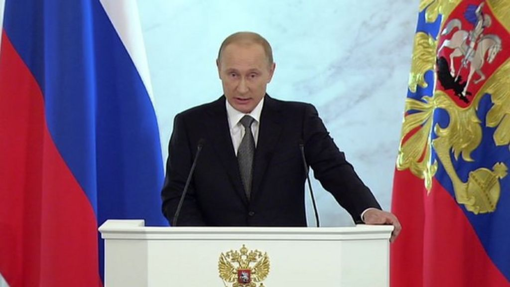 Putin: The times we are facing are hard and difficult - BBC News