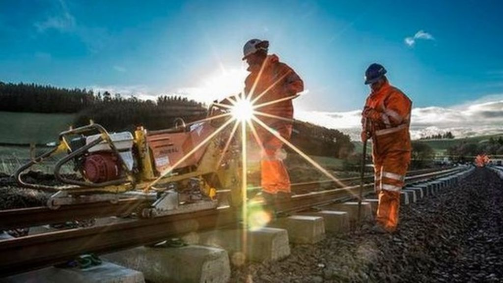 Borders Railway track laying