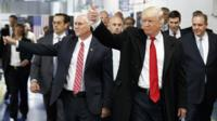 Trump and Pence at Carrier plant