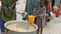 Food distribution at camp in Somalia
