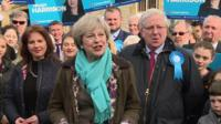 Theresa May and Trudy Harrison in Millom