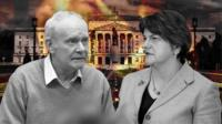 Composite image of Martin McGuinness and Arlene Foster in front of Stormont building