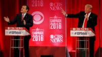 Republican US presidential candidates Senator Ted Cruz and businessman Donald Trump directly debate each other