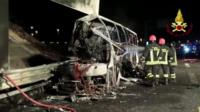 Front of bus badly damaged in fire near Verona, Italy - 21 January 2017