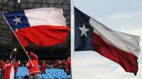 A man waves a Chilean flag on the left and a Texas flag flies in the wind on the right