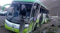 The bus that crashed in the Mendoza region of Argentina