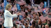 Democratic presidential candidate Hillary Clinton gives two thumbs up to the crowd before addressing the Democratic convention.