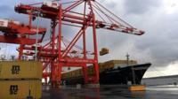 Containers being unloaded at Liverpool port