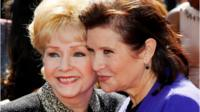 Debbie Reynolds and Carrie Fisher in 2011