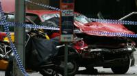 The wreckage of a car is seen as police cordoned off Bourke Street mall, after a car hit pedestrians in central Melbourne, Australia, January 20, 2017
