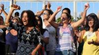 Relatives of military police officers block the main entrance of police headquarters, during a police strike over wages, in Vitoria, Espirito Santo, Brazil February 11, 2017