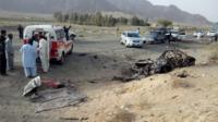 The purported site of the drone strike said to have killed Mullah Akhtar Mansour in the Ahmad Wal area of Balochistan in Pakistan (22 May 2016)