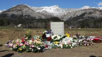 A stone commemorating the victims of the 24 March Germanwings crash. Le Vernet, southeastern France.