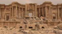 Damaged section of Palmyra's Roman-era theatre