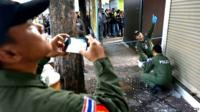 Police examine site of explosion