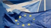 Saltire and EU flag