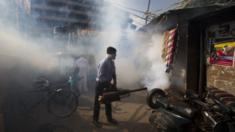 A municipal worker Sunil Chauhan fumigates an impoverished colony to check the spread of mosquito-borne diseases in New Delhi, India, Friday, Sept. 2, 2016.