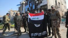 Iraqi soldiers pose with national flag in Ramadi. 28 Dec 2015