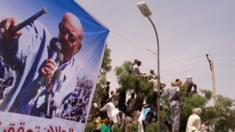 A poster of Omar al-Bashir in the Darfur region of Sudan