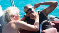 Sir Richard Branson and former US President Barack Obama pictured in the British Virgin Islands in February 2017