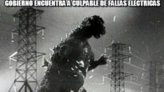 A meme shows Godzilla tearing through power lines