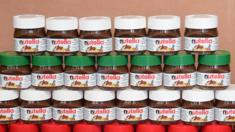 Small pots of Nutella are on display in a jewelery on May 17, 2014 in Alba, northern Italy, during the celebrations of the spread's 50th anniversary