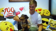 Ryan Hoover and Pluto, the Product Hunt office dog