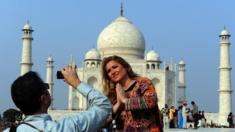 Tourist at Taj Mahal