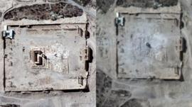 Satellite images from before and after a powerful blast in the ruins of Palmyra