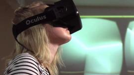 A girl using a VR headset