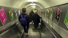 People using Tube escalator