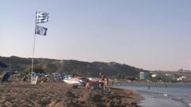 Beach on Greek island of Rhodes