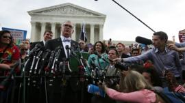 Plaintiff Jim Obergefell speaks to reporters after the ruling