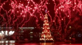 Floating Christmas tree in Brazil