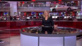 Delorean car flying through BBC Broadcasting house