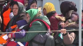 Migrants on rescue boat